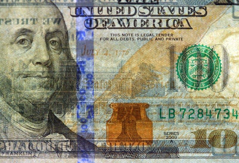 Watermark on new hundred dollar bill. Watermark on redesigned new hundred dollar bill royalty free stock images