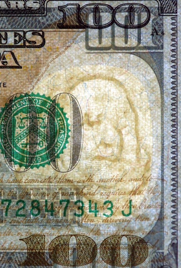 Watermark on new hundred dollar bill. Watermark on redesigned new hundred dollar bill royalty free stock photos