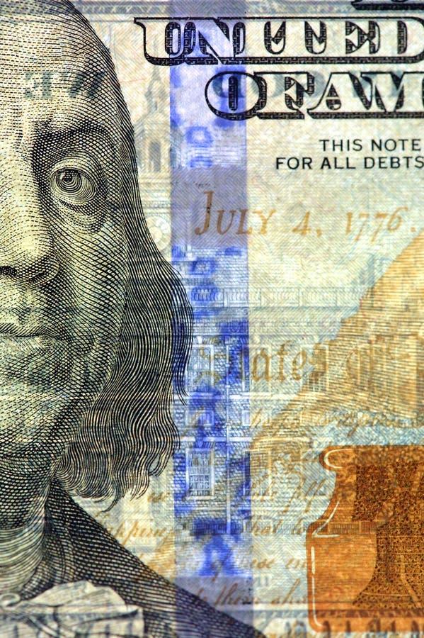 Watermark on new hundred dollar bill. Watermark on redesigned new hundred dollar bill royalty free stock image