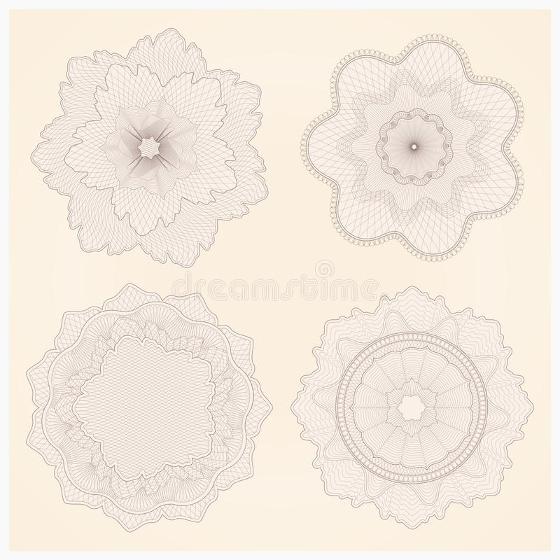 Watermarks. Guilloche pattern. This is set of watermarks. Guilloche vector elements for diploma, certificate, currency, voucher or money design. EPS 8 vector illustration