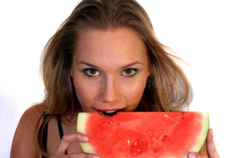 Watermeloen & Vrouw royalty-vrije stock foto's