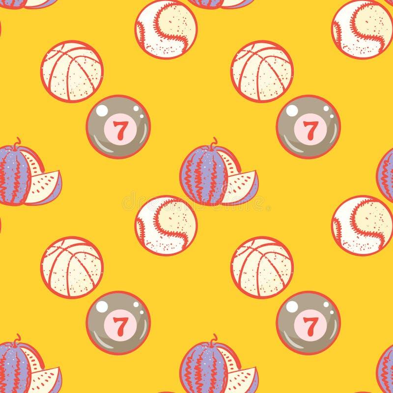 Watermeloen, biljart, basketbal en honkbalballen naadloos patroon vector illustratie