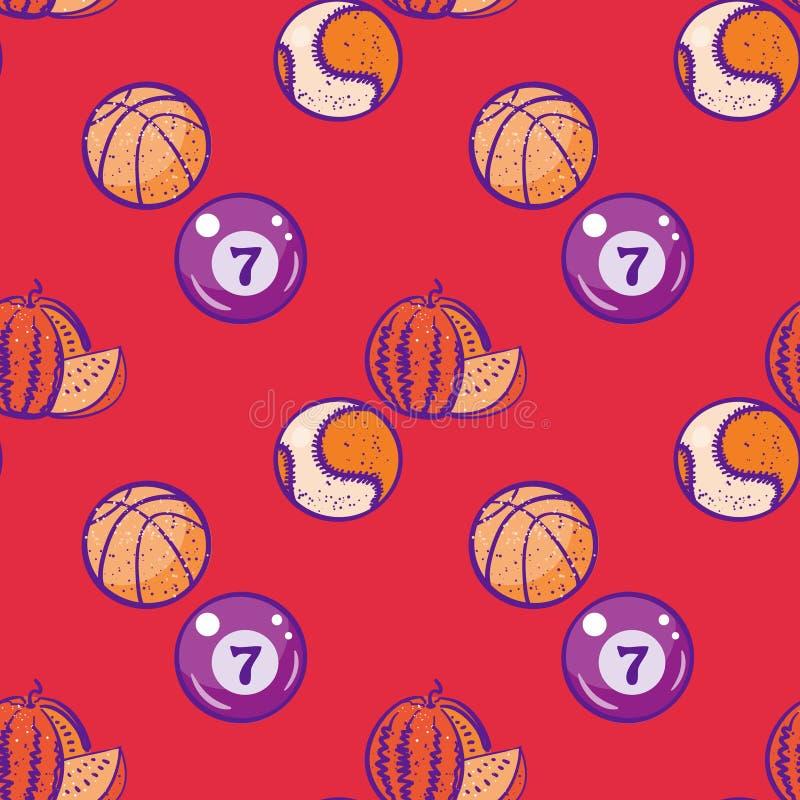Watermeloen, biljart, basketbal en honkbalballen naadloos patroon stock illustratie
