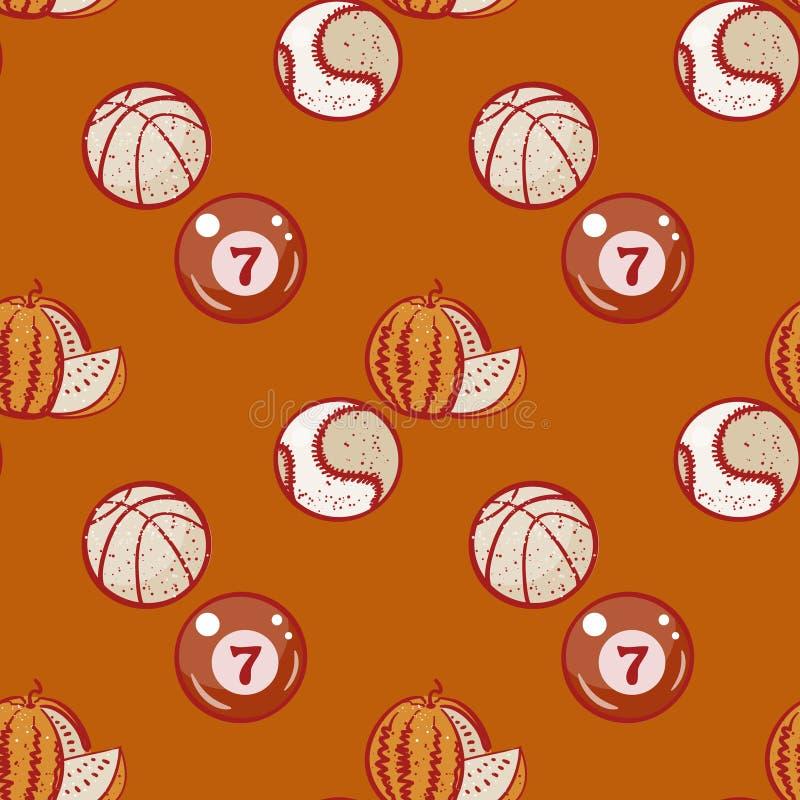 Watermeloen, biljart, basketbal en honkbalballen naadloos patroon royalty-vrije illustratie