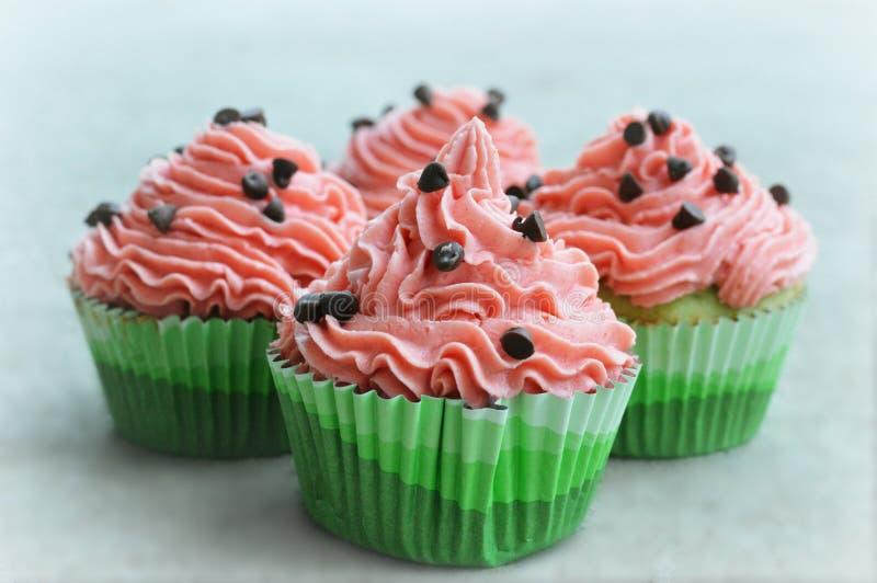 Watermeloen Cupcakes royalty-vrije stock foto