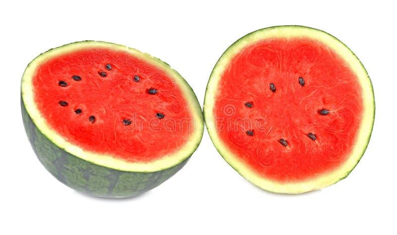 Watermeloen in de helft op witte achtergrond royalty-vrije stock foto's