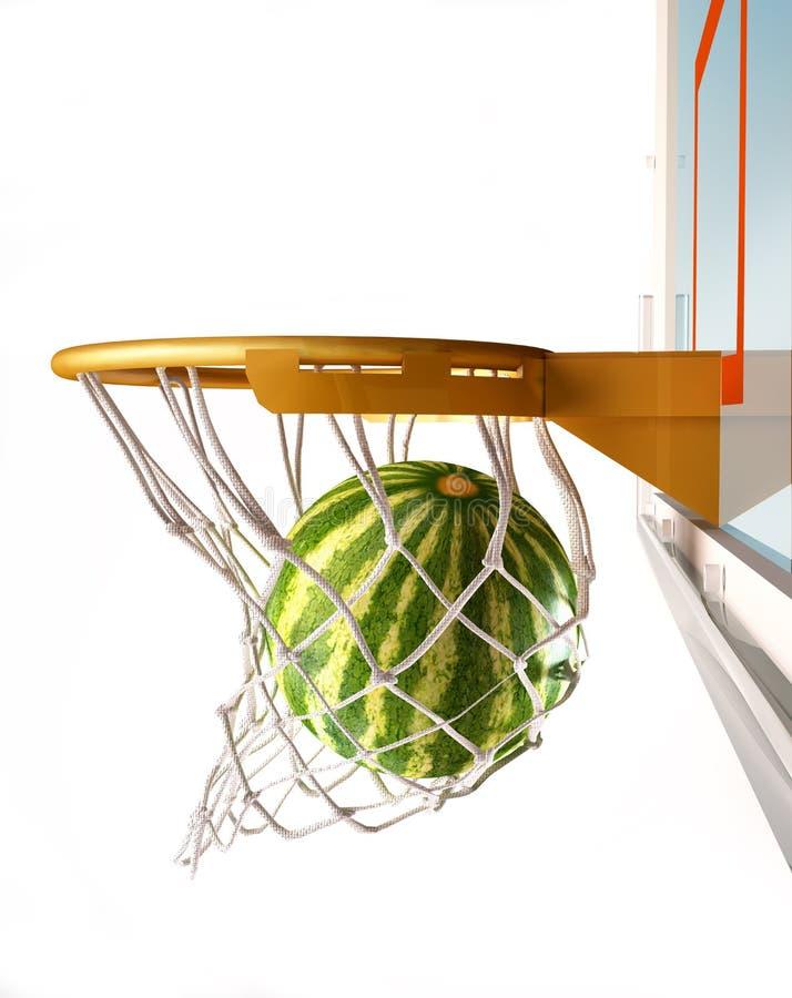 Watermeloen die de mand, close-upmening centreren. stock illustratie