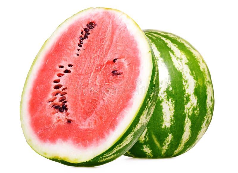 Watermeloen die op wit wordt geïsoleerdA stock afbeelding