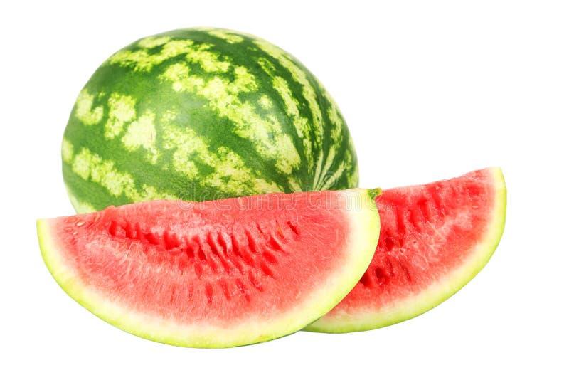 Watermeloen die op wit wordt geïsoleerdr stock foto's
