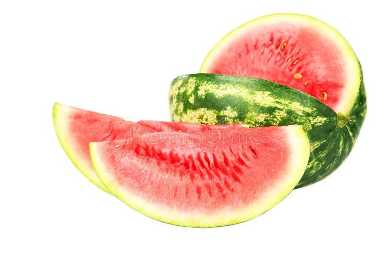 Watermeloen die op witte achtergrond wordt geïsoleerd) stock foto