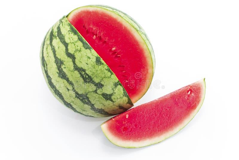 Watermeloen die op witte achtergrond wordt geïsoleerd) royalty-vrije stock foto