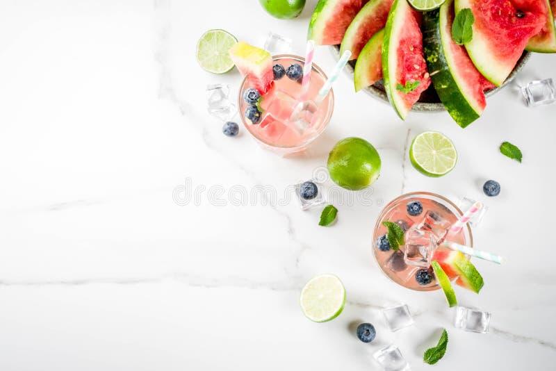 Watermeloen en bosbessenlimonade stock foto