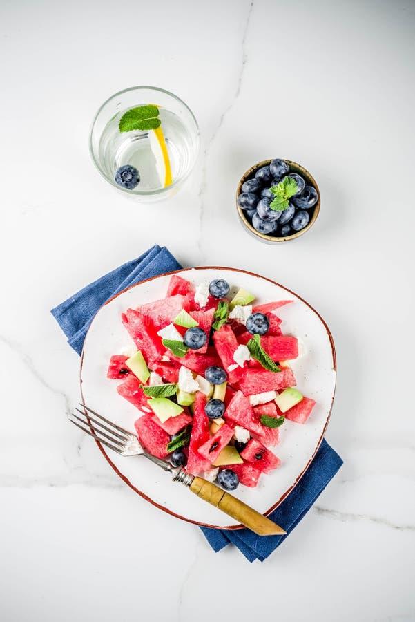 Watermeloen en feta-salade royalty-vrije stock afbeelding