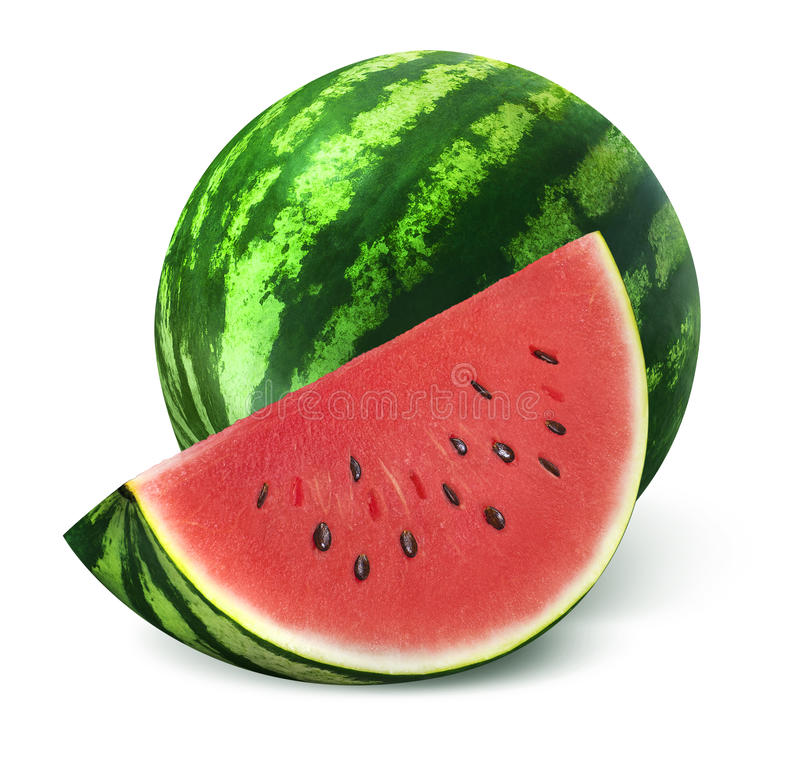 Watermeloen en grote plak op witte achtergrond stock fotografie