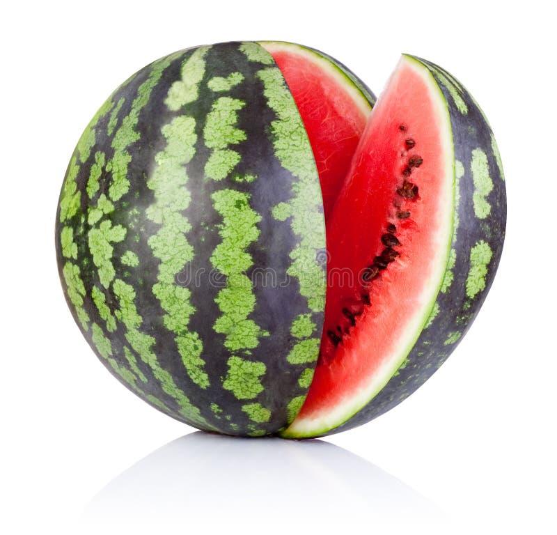 Watermeloen en Plak op witte achtergrond wordt geïsoleerd die royalty-vrije stock afbeelding