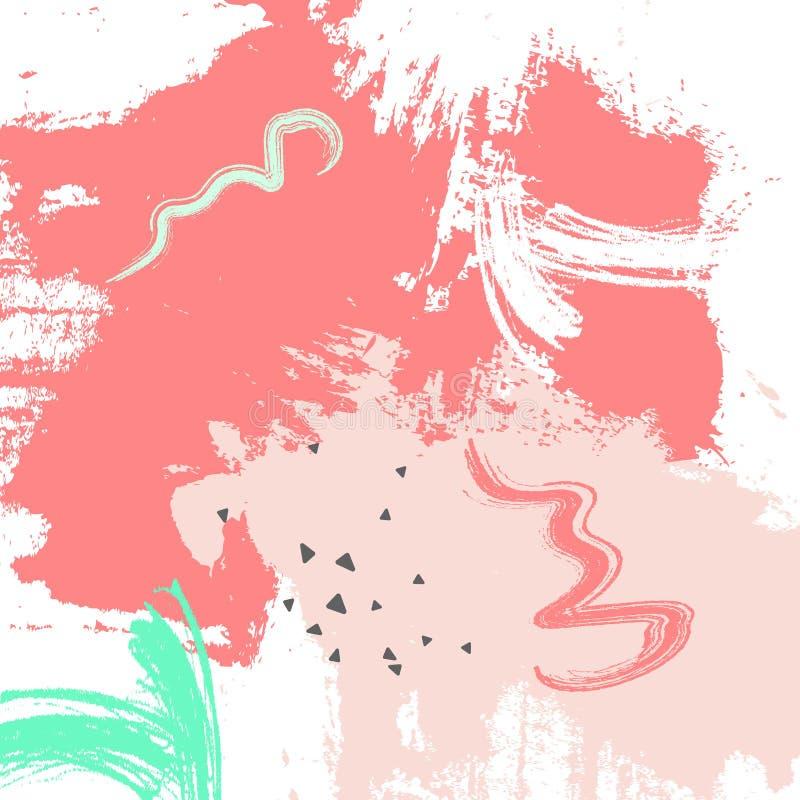 Watermeloen grunge roze groene bckground De verf van de pastelkleurenkwaststreek Vector abstracte document tellersvormen De eleme royalty-vrije illustratie