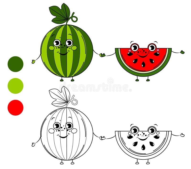 watermeloen Kleurende boekpagina vector illustratie