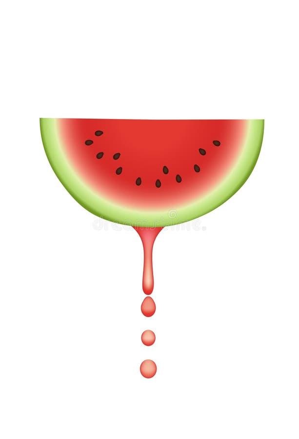 Watermeloen met dalende sapdalingen. royalty-vrije stock foto