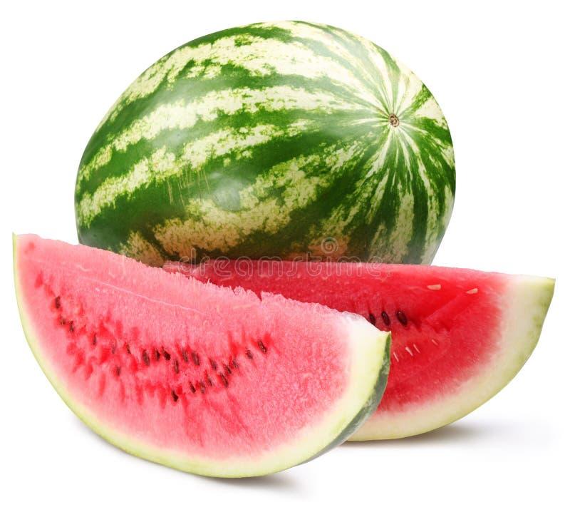 Watermeloen met plakken stock afbeelding