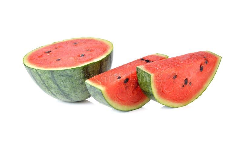 Watermeloen met zaad op wit royalty-vrije stock afbeelding