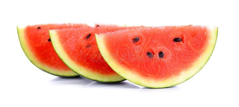 Watermeloen op de witte achtergrond stock afbeelding