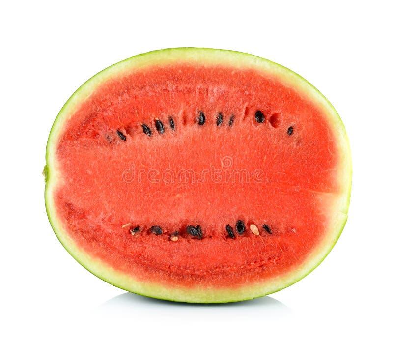 Watermeloen op de witte achtergrond wordt geïsoleerd die royalty-vrije stock foto