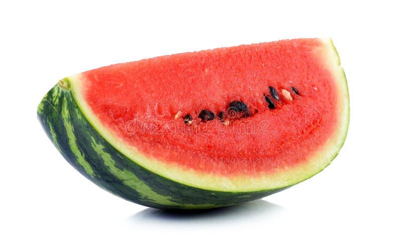 Watermeloen op de witte achtergrond wordt geïsoleerd die stock foto