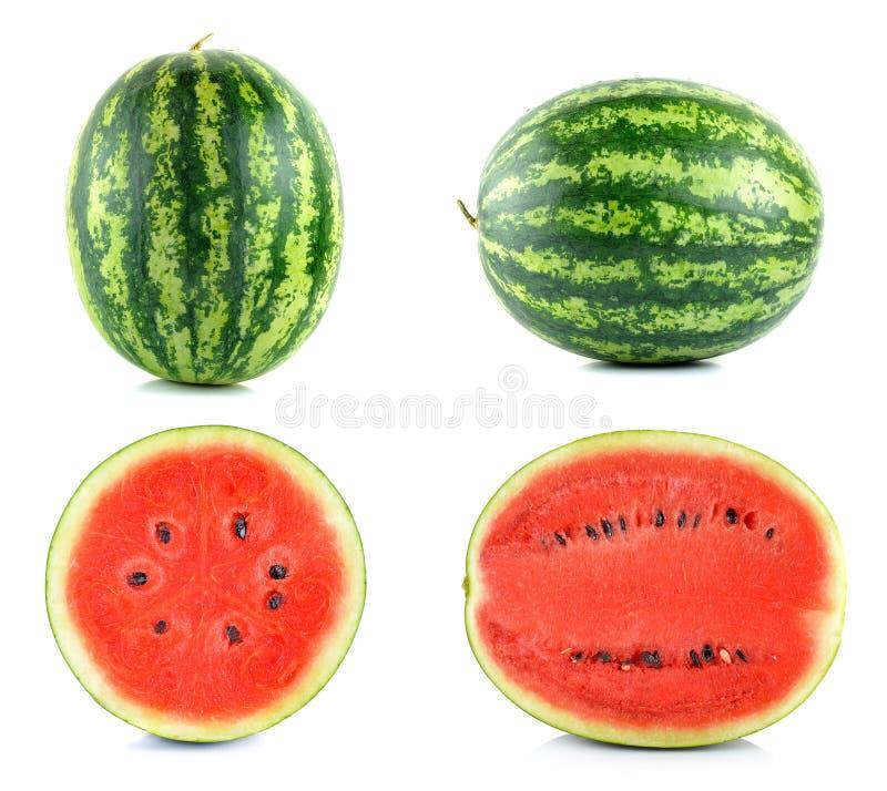 Watermeloen op de witte achtergrond wordt geïsoleerd die stock fotografie