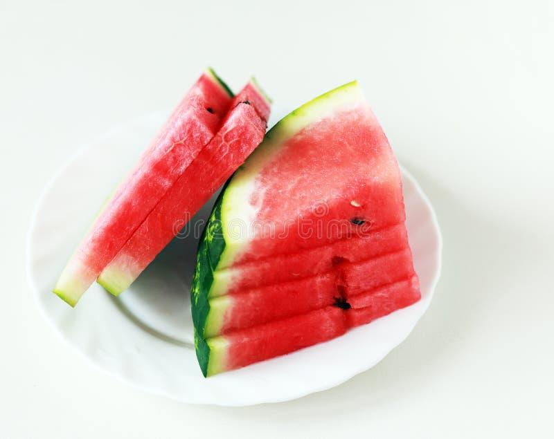 Watermeloen op een plaat royalty-vrije stock foto