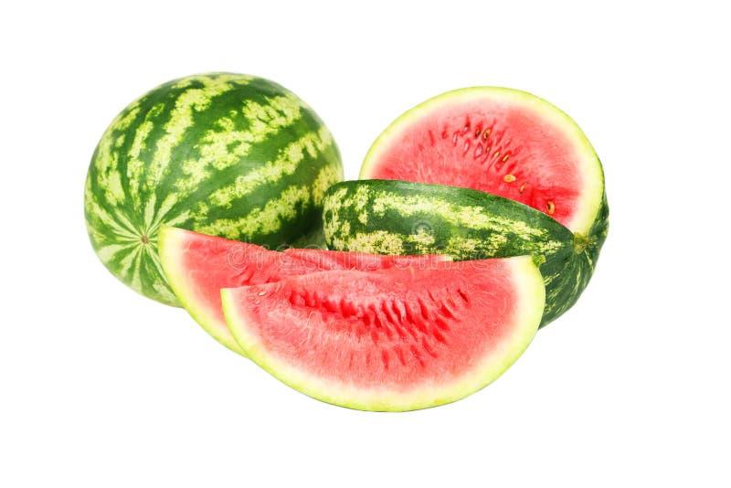 Watermeloen op een wit wordt geïsoleerd dat stock afbeeldingen