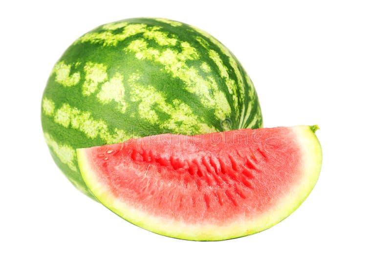 Watermeloen op een wit wordt geïsoleerd dat stock fotografie