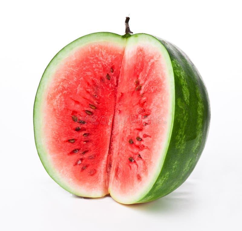Watermeloen op een witte achtergrond stock fotografie