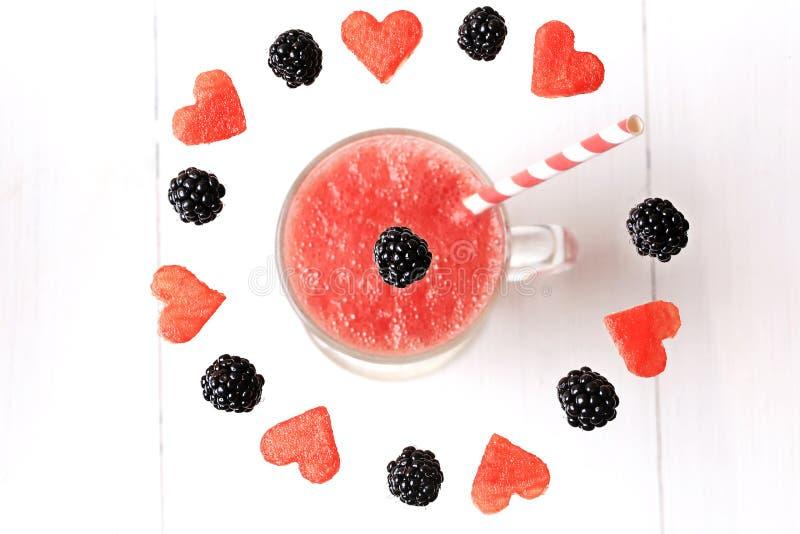 Watermeloen smoothies fruit en bes stock fotografie