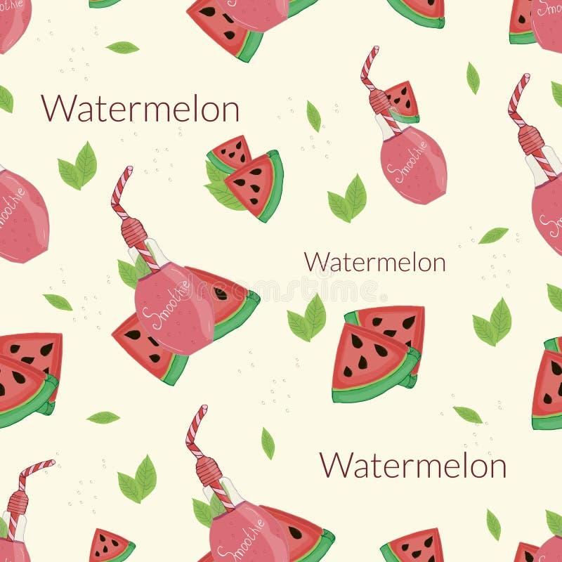 Watermeloen smoothies op een beige achtergrond stock illustratie