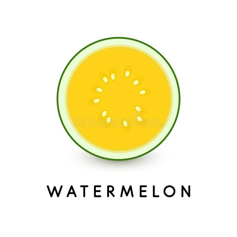 Watermeloen vectorpictogram Illustratie van het de zomer de gezonde voedsel op witte achtergrond Watermeloenplak, geïsoleerde gel vector illustratie