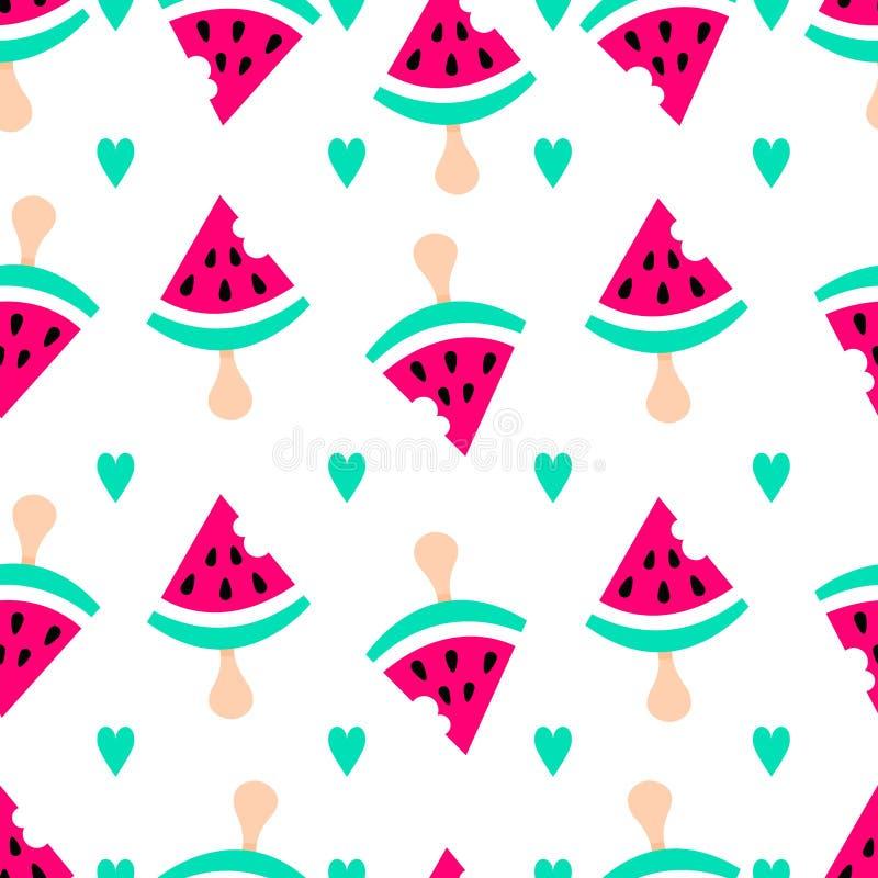 Watermeloen vlak patroon De zomerachtergrond met watermeloenroomijs en harten Leuke vector zoete achtergrond vector illustratie