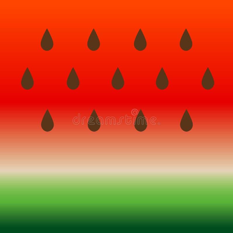 Watermeloenachtergrond Gestreepte, groene en rode de Zomerillustratie Vector abstracte het zaadtextuur van het voedselpatroon royalty-vrije illustratie