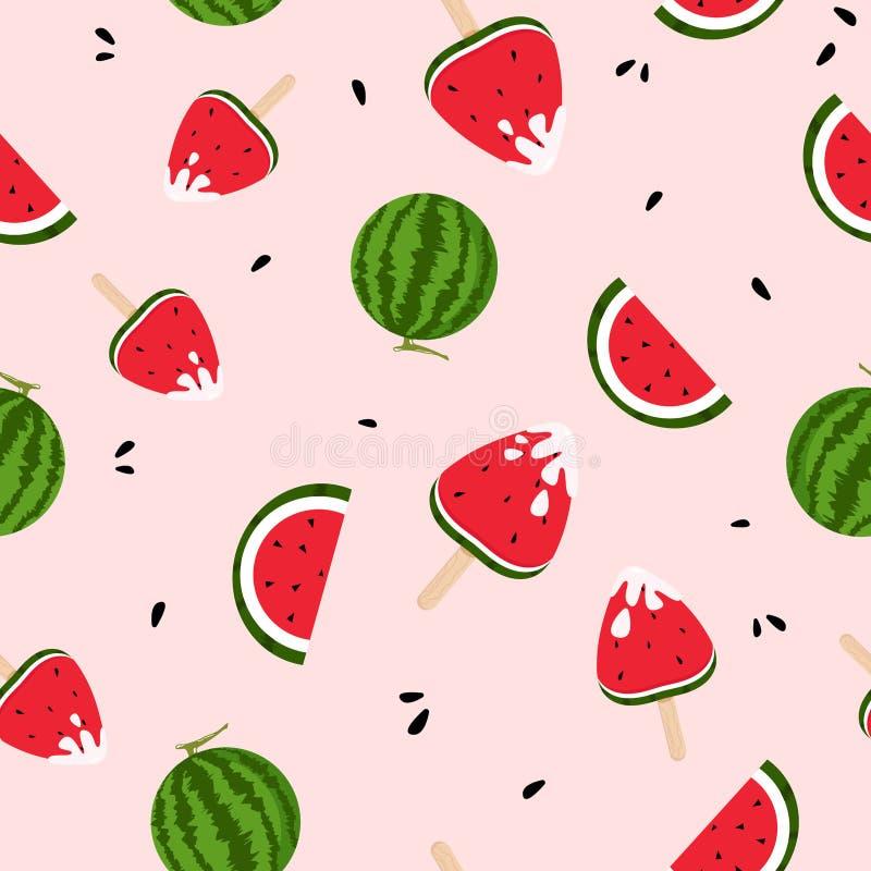 Watermeloenen, roomijs, yummy, kleurrijk versheids naadloos patroon, zomer, het bespatten van inkt achtergrondtextuurvector royalty-vrije illustratie
