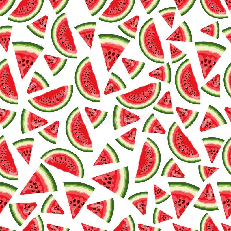 Watermeloenenpatroon Vectorillustratie grafische druk De heldere achtergrond van de zomer stock foto's