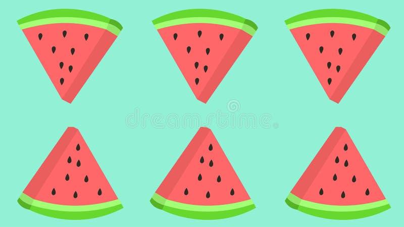 Watermeloenplak met zaden die patroon herhalen royalty-vrije illustratie