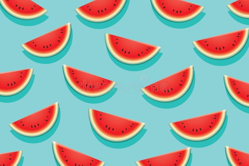Watermeloenplak op blauwe achtergrond Het ontwerpbanner van de de zomertijd stock illustratie