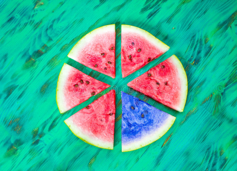 Watermeloenplakken Een zwarte schapenconcept royalty-vrije stock afbeelding