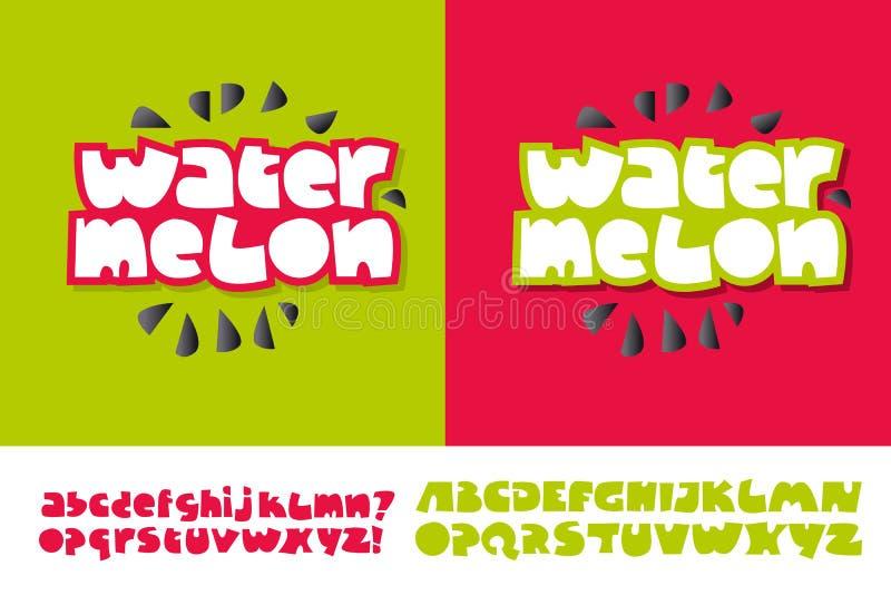 Watermeloentekst voor druk en Web vector illustratie