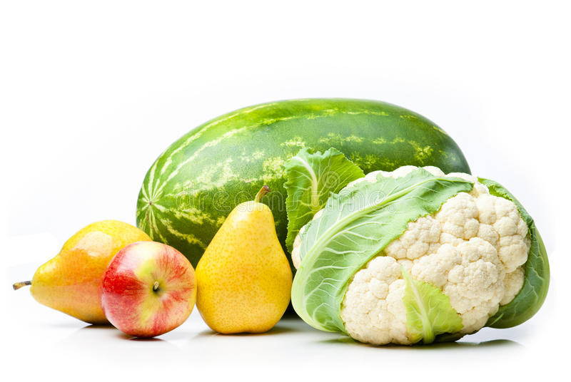 Watermelon, apple, pears and cauliflower. royalty free stock photos