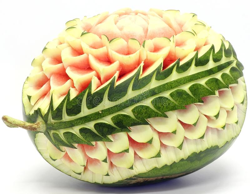 Watermelon asian fruit carving royalty free stock