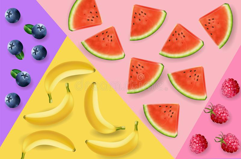 Watermelon, bananas and berry abstract pattern Vector realistic. 3d detailed fruits textures royalty free illustration