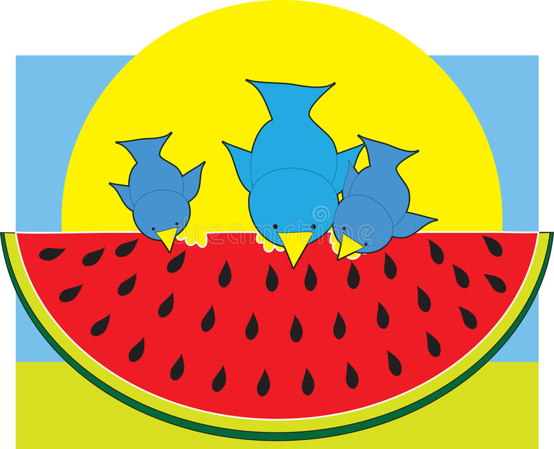 Download Watermelon Blue Birds stock vector. Image of fruit, sitting - 13079421