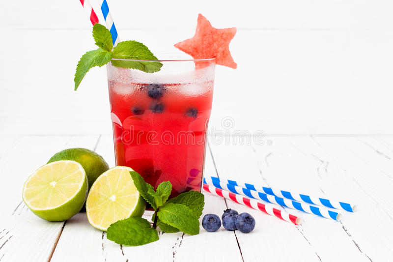 Watermelon blueberry mojito. Patriotic drink cocktail for 4th of July party stock images