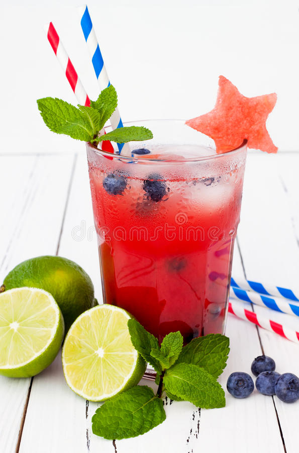 Watermelon blueberry mojito. Patriotic drink cocktail for 4th of July party.  royalty free stock photos