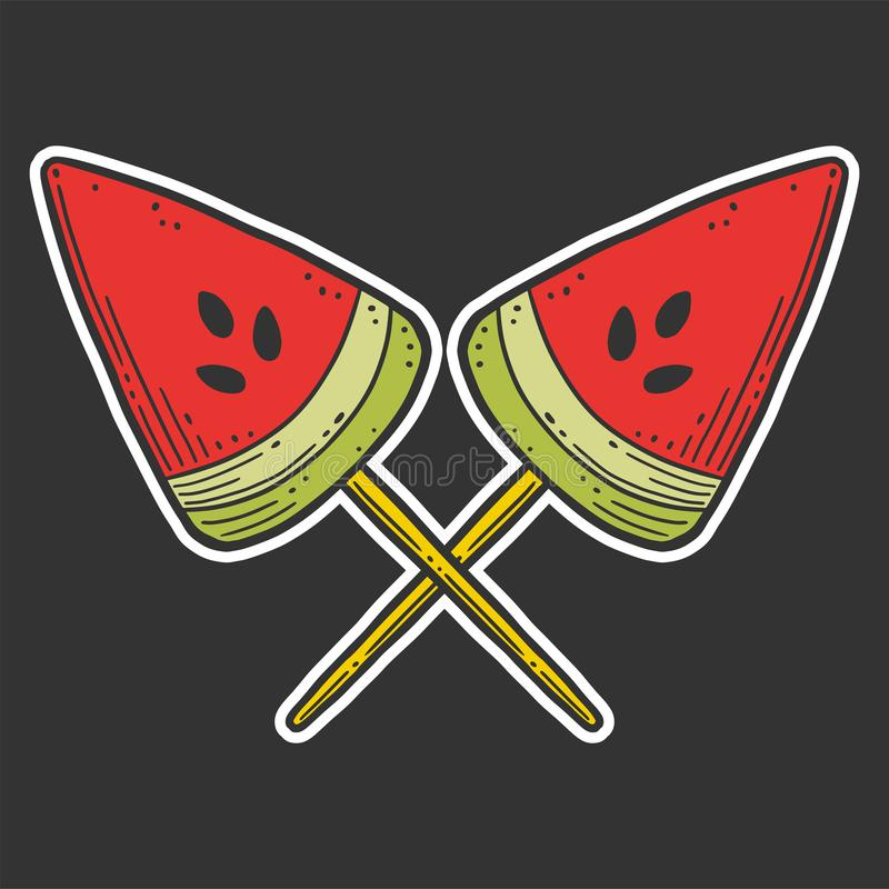 Watermelon candy or icerceam. Vector concept in doodle and sketch style. Hand drawn illustration for printing on T-shirts, postcards, slice, logo, cream, fruit vector illustration
